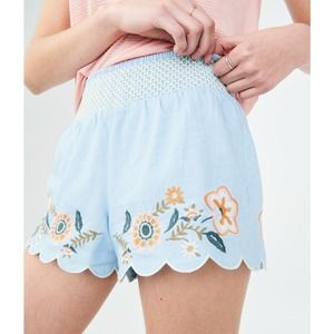 Aeropostale Floral Embroidered Chambray Shorts